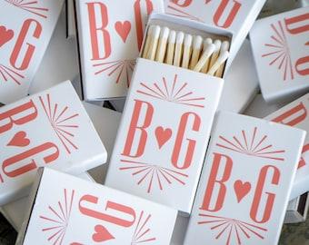 Custom Contemporary Monogram Matches, Personalized Heart Monogram Matchbooks, Custom Wedding Matches, Custom Printed Matches