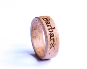 Beech Wood Ring, Bentwood Wedding Ring, Wood Ring, Mens Band With Custom Engraving