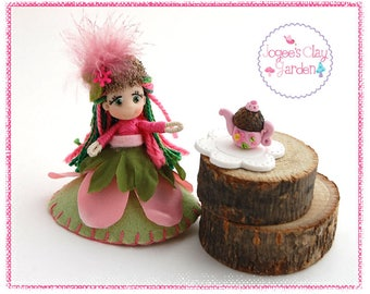 Mini Pose-able artistic polymer clay Garden Tea Party Pixie Doll (#2) by Jogee's Clay Garden