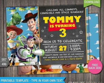 Toy Story 3 Invitation - 50% OFF - INSTANT DOWNLOAD - Printable Disney Toy Story 3 Invite - Chalkboard - DiY Personalize & Print - (TSin01)
