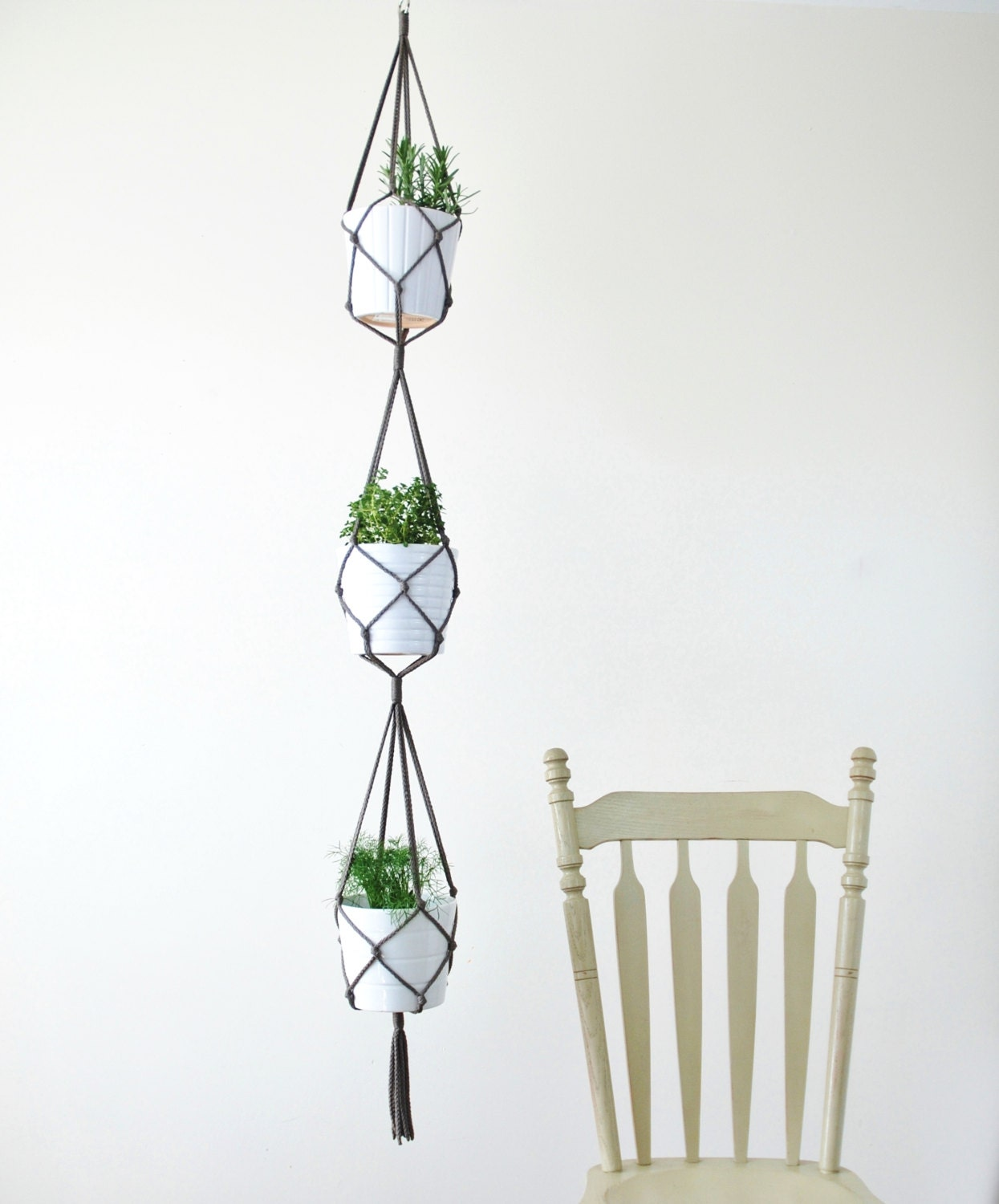 Three Tiered Macrame Plant Hanger Simple Hanging Plant