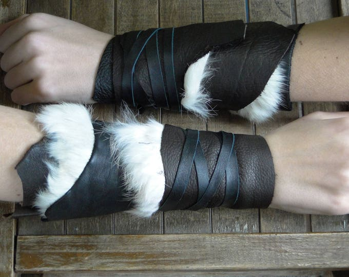Leather Cuffs - Warrior Viking Tribal Larp Costume Cosplay - Pair #23d