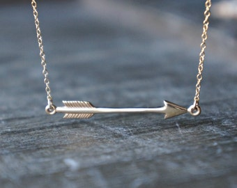 Sideways Arrow Necklace / Petite Reversible Arrow Pendant on a Gold Filled Chain ... Floating Arrow Necklace