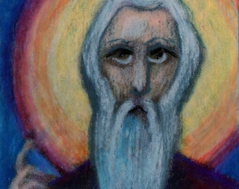 original art  aceo drawing religious icon saint
