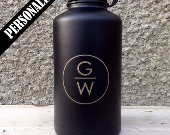 Stainless Steel Growler w/ black powder coat, personalized design, personalized engraved growler, laser engraving