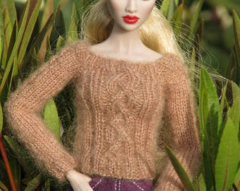 """Handmade knitted sweater for 12"""" fashion royalty etc."""
