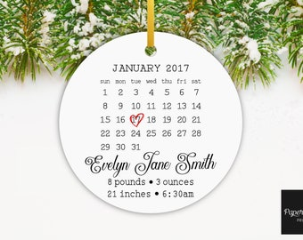Baby's First Christmas Ornament, Baby Calendar Ornament, Gift for First Christmas, Custom Calendar Ornament, Pregnancy Announcement Ornament