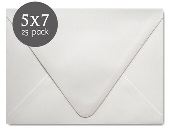 "Wedding Envelopes - 25 Pack - White Envelopes - A7 - 5x7 , actual size 5 1/4"" x 7 1/4"""