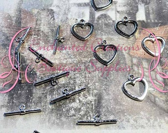 Silver Heart Toggle Clasps, 6 Sets