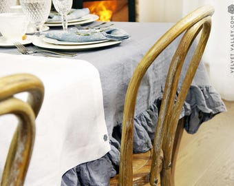 Linen dark grey tablecloth- charcoal grey tablecloth with ruffles-Made by Velvet Valley light tablecloth