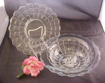 "1930s Imperial Glass 2 Piece Salad Set With Frosted Intaglio Rose, Vintage Clear 10 1/2"" Deep Bowl w/Plain Bottom Plate Line #255"