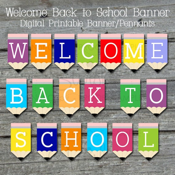 Printable Welcome Home Sign: Welcome Back Printable Banner Back To School Sign Teacher
