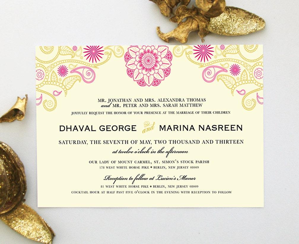 Hindi Wedding Invitation: Indian Wedding Invitation With Henna Mandala Mehndi Paisley