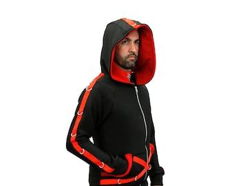 DSF DSFusion D-Ring Hoodie - Gothic - Industrial - Futurewear - Cyberpunk Cybergoth Black Bondage Jacket Straight Deep Hood Coat Pockets