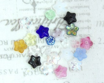 Mixed Assortment Czech Glass Flower Beads Mixed Glass Flower Beads Mixed Lot Flower Beads