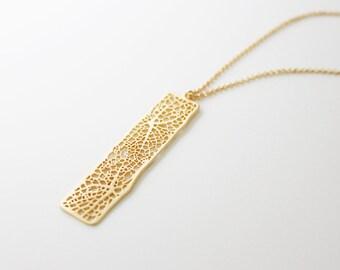 gold mesh bar long necklace