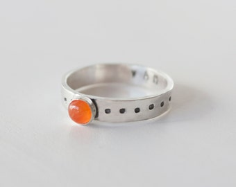 Sacral Chakra Ring, Carnelian Stacking ring, Carnelian, Hidden message ring, Carnelian ring, Sacral chakra, yoga ring, yoga jewelry,RTS