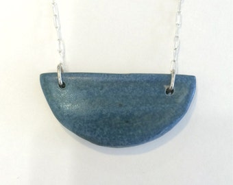 Half Moon Necklace- Sterling Silver Chain