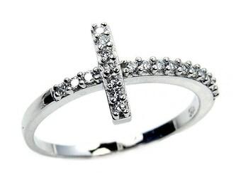 Cross Ring - Cubic Zirconia Ring - Sterling Silver Cross Ring - Christian Jewelry Gift Z443 Z444 Z445 Z446 The Silver Plaza
