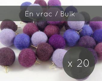 Thumbtacks 20/Purple Push pins/purple decor/felt balls/pins/pompoms/cork board/office accessories/professor gift/Canada christmas stocking