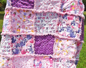 Twin Princess Rag Quilt - pink, purple - Perfect for a Little Girl - Backing Fabric Options - Girl Rag Quilt