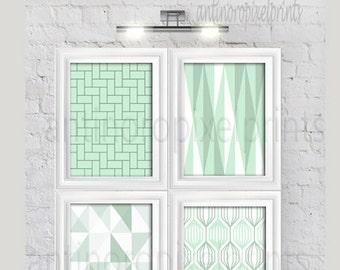 Art Geometric Damask Light Green White Prints , Set of (4) Prints, Custom Colors Available #295134897