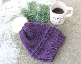 Slouchy knit hat, ladies knit hat, Mactier pom pom beanie, Acrylic knit hat, purple hat gift for her, Faux fur pom pom hat,