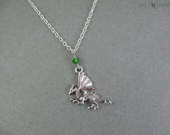 Small Dragon Charm Necklace - Silver