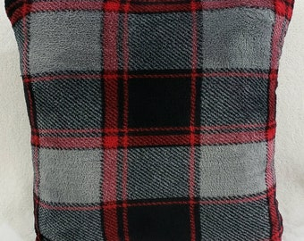 Soft Black, Red, and Grey Plaid Quillow with red back/ Blanket/Throw/Travel Quillow