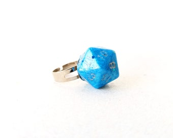 Individually cast clear resin D20 dice ring sky blue