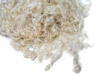 First Clip Kid Mohair wool locks , colour White  NB-2