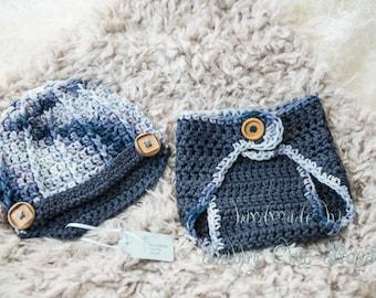 Newborn crochet diaper and beanie set