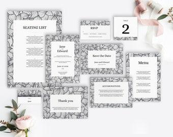 Botanical wedding suite   diy wedding suite printables   print at home   hand drawn pattern