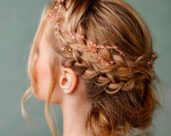 Rose gold headpiece Flower crown rose gold Wedding headband bridal woodland hair vine Bride hair piece Bridal halo Flower girl crown Thin