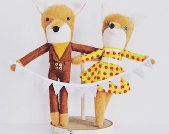 Mr and Mrs Fox Wedding Cake Topper