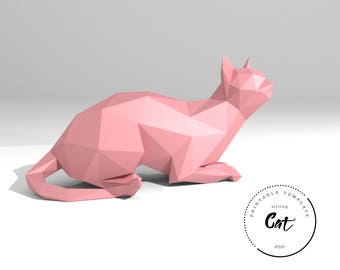Printable DIY template (PDF).  Sitting Cat low poly paper model template. 3D paper trophy. Origami. Papercraft. Cardboard animal.