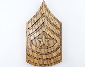 ARMY SGM Rank Plaque E9 Sergeant Major Carved Wall Wooden Military Army Promotion Retirement Gift