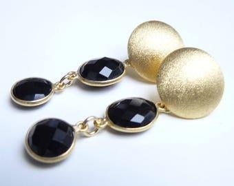 Stud Earrings with Onyx