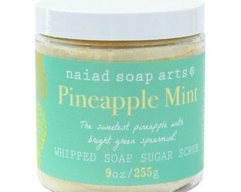 Pineapple Mint Whipped Soap Sugar Scrub - Vegan and Cruelty Free