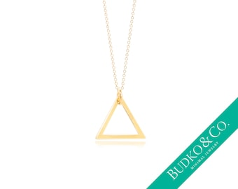 Silver Triangle Necklace - Sterling Silver 925 24k Gold - Silver Necklace - Gold Necklace - Minimal Necklace - Triangle Pendant Jewelry