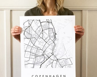 COPENHAGEN Map Street Map DENMARK City Map Drawing Black and White (Art Print) Wedding Anniversary Gift Wall Decor