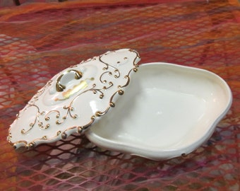 Beige with Gold Leaf Ceramic Dish with Lid