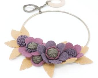 Purple & Tan Felt Floral Hoop· Felt Leaves· Wreath· Wall Hanging· Art· Home Decor· Housewarming· Felt Flowers· Gold Hoop· Birch· Wool Yarn