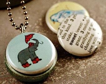Cute Elephant With Umbrella Locket | Blue Bird Necklace | Locket 4 Sweet Girl | Recycled Magnetic 3 in 1 Set | Tamara Garvey and Polarity