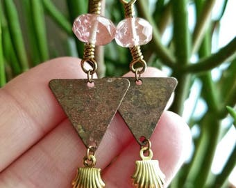 Faceted Cherry Quartz Raw Brass Patina Triangle Dangle Earrings
