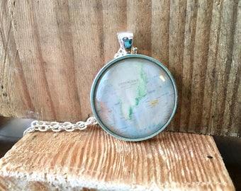 Globe Pendant Greenland Necklace Map World Travel Wanderlust Gift for Traveler Earth Nation