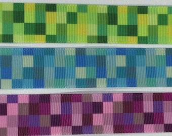 """Blocks in Green, Blue or Purple designs on Grosgrain Ribbon and Bows, 2.5cm or 1"""" width."""