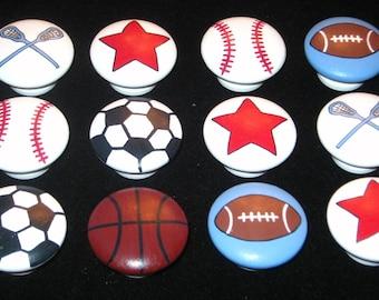 "12 Knobs - SPORTS BALLS & MORE - 1 1/2"" knobs -- Football, Basketball, Baseball, Soccer, Lacrosse Sticks, Red Stars - Hand Painted Knobs"