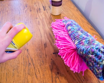 Crocheted Washable Hand Duster // Fun & Colorful Yarn Dusting Mitt // Reusable Cleaning Glove