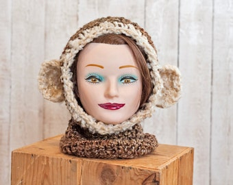 Fuzzy Monkey Cowl and Hat - Hooded Cowl - Monkey Cowl - Monkey Hat - Winter Accessory